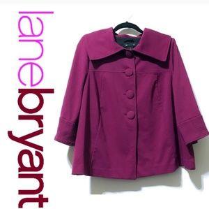Lane Bryant 4-button 3/4 sleeve magenta jacket